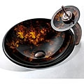 Kraus Autumn Glass Vessel Sink and Waterfall Faucet