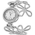 Geneva Platinum Women's Flower Cuff Watch
