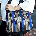 Cotton 'Thai Sapphire' Sling Tote Bag (Thailand)