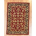 Indo Red/ Beige Wool Rug (2'1 x 3'1)