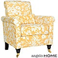 Handy Living Harlow Yellow and White Floral Arm Chair