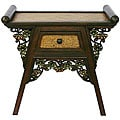 Hand-carved Teak Wood/ Rattan Floral Accent Table (Thailand)