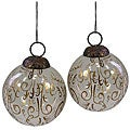 Set of Two Handmade Blown Glass Ornaments (India)