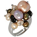 Maddy Emerson Couture Silver Pearl and Gemstone Ring (3-5 mm)