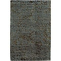 Hand-knotted Abstract Design Wool Area Rug - 2 '6 x 10'