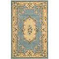 Nourison Hand-tufted Light Blue Floral Wool Rug (7'3 x 9'3)