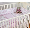 Shop Pink Toile Girl S 4 Piece Crib Bedding Set With