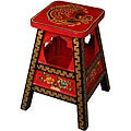 Red and Black Gold-trim Tibetan Stool/ End Table (China)