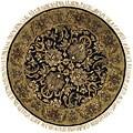 "Safavieh Handmade Traditions Black/ Light Brown Wool Rug - 3'6"" x 3'6"" round"