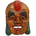 Hand-carved 'Happy Buddha' Wood Tribal Mask Wall Hanging (Thailand)