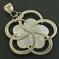 Sterling Silver Mother of Pearl Flower Pendant (Indonesia)