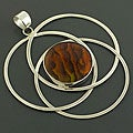 Sterling Silver Brown Rainbow Abalone Ringlet Pendant (Indonesia)