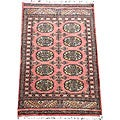 Pakistani Hand-knotted Peach/ Black Bokhara Wool Rug (2' x 3')