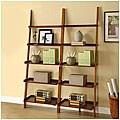 Mahogany Five-tier 2-piece Leaning Ladder Shelf Set