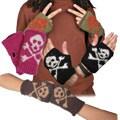 Wool Skull and Crossbones Fingerless Gloves (Nepal)