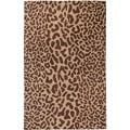 Hand-tufted Tan Leopard Whimsy Brown Animal Print Wool Area Rug (5' x 8') - 5' x 8'