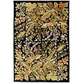 Hand-knotted Contemporary Neoteric Black Wool Floral Area Rug - 8' X 11'