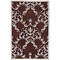Hand-knotted Neoteric Brown Damask Print Wool Area Rug - 5' x 8'
