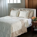 Lace Embroidered Cotton Taupe 3-piece Quilt Set