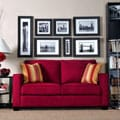 Handy Living Madi Crimson Red Microfiber Sofa with Wine Striped Accent Pillows