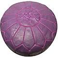 Leather Purple Pouf Ottoman (Morocco)