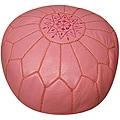 Leather Pink Pouf Ottoman (Morocco)