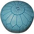 Handmade Leather Sky Blue Pouf Ottoman (Morocco)