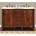 Silkroad Exclusive Wood and Crema 55-inch Marble Double Bathroom Vanity