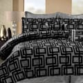 Geo Hotel Black/ Silver King-size 8-piece Comforter Set