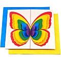 Set of 5 Lokta Paper 3D Rainbow Magic Butterflies Note Cards (Nepal)