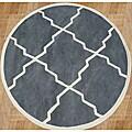 Alliyah Handmade Bluish-Grey New Zealand Blend Wool Rug (6' Round)