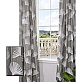 Exclusive Fabrics Ginko Leaf Slate Crewel Embroidered Faux Linen Curtain Panel 96-inch