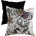Pillow Perfect Black/ Grey Floral Sketches Throw Pillow