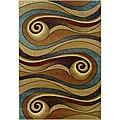 Gold/Brown Swirls Abstract Rug (7'9 x 9'9)