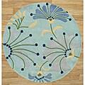 Alliyah Handmade Nile Blue New Zealand Blend Wool Rug (6' x 6')