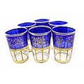 Handmade Hand-painted Moroccan Mek-blue-trim Tea Glasses (Set of Six) (Morocco)
