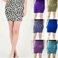 Tabeez Women's Leopard Stretch Mini Skirt