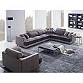 Modern Beige/ Brown Fabric Sectional Sofa and Chair with Pillows