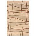 Hand-tufted Hesiod Beige Wool Rug - 5' x 8'