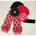 Ashlyn Rose Pink Polka Dot Baby Girl Leg Warmers and Hat Gift Set
