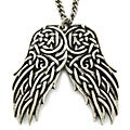 West Coast Jewelry Celtic Silvertone Double Wing Necklace