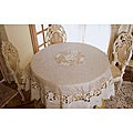 Tan Embroidered and Cutwork 72-inch Round Tablecloth