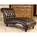 ABBYSON LIVING Alessio Hand Rubbed Brown Leather Chaise