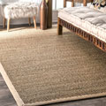 Havenside Home Clearwater Handmade Natural Fiber Cotton Border Seagrass Area Rug (8' x 10')