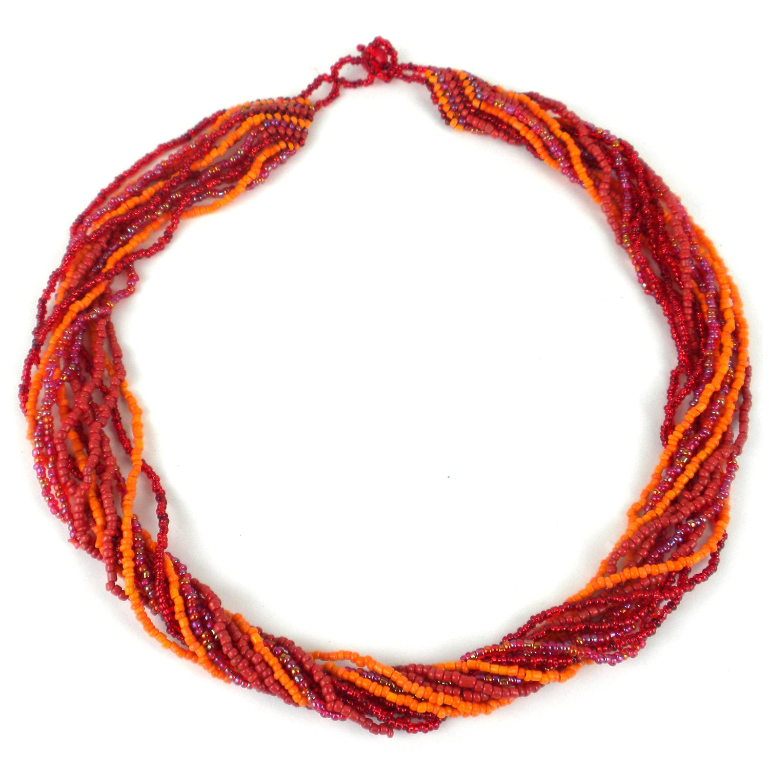 Handcrafted 12-Strand Beaded Necklace - Red & Orange (Guatemala)