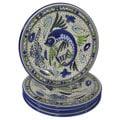 Set of 4 Le Souk Ceramique Stoneware Aqua Fish Design Dinner Plates (Tunisia)
