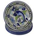 Set of 4 Le Souk Ceramique Aqua Fish Design Stoneware Pasta/Salad Bowls (Tunisia)