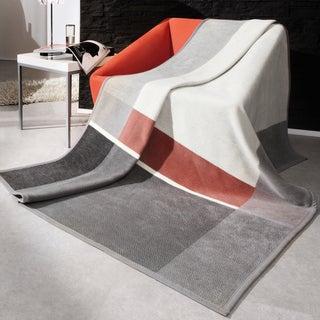 Bocasa Grey Check Woven Throw Blanket
