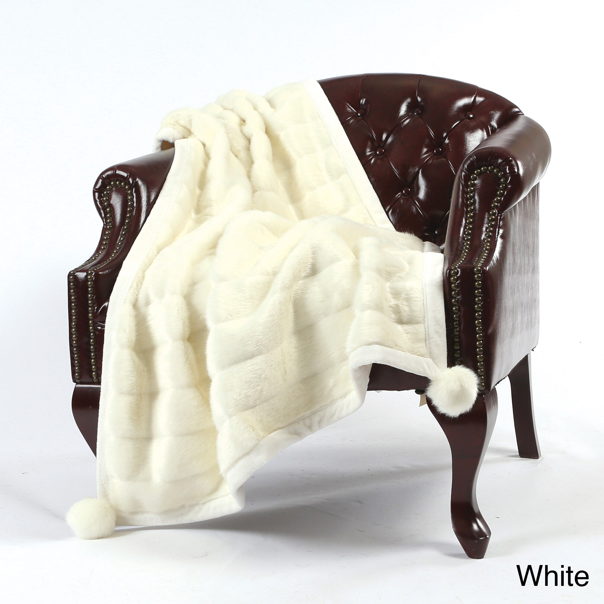 Aurora Home Mink Pom Pom Faux Fur 54 x 36 Throw (Off Whit...
