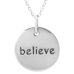 Journee Collection Sterling Silver 'Believe' Disc Necklace